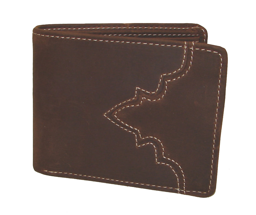 Pard's Western Shop Silver Creek Classic Distressed Brown Leather Bifold Wallet