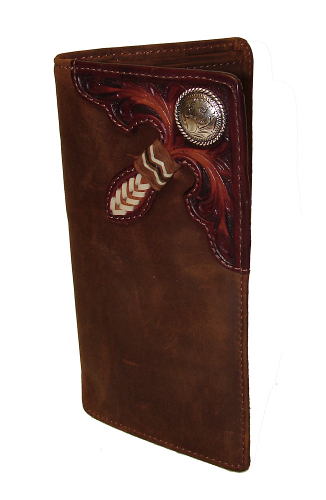 Silver Creek Tooled/Laced with Concho Buckaroo Rodeo Wallet
