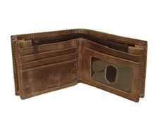 3-D Distressed Brown Bifold Wallet with Zippered Currency Pocket