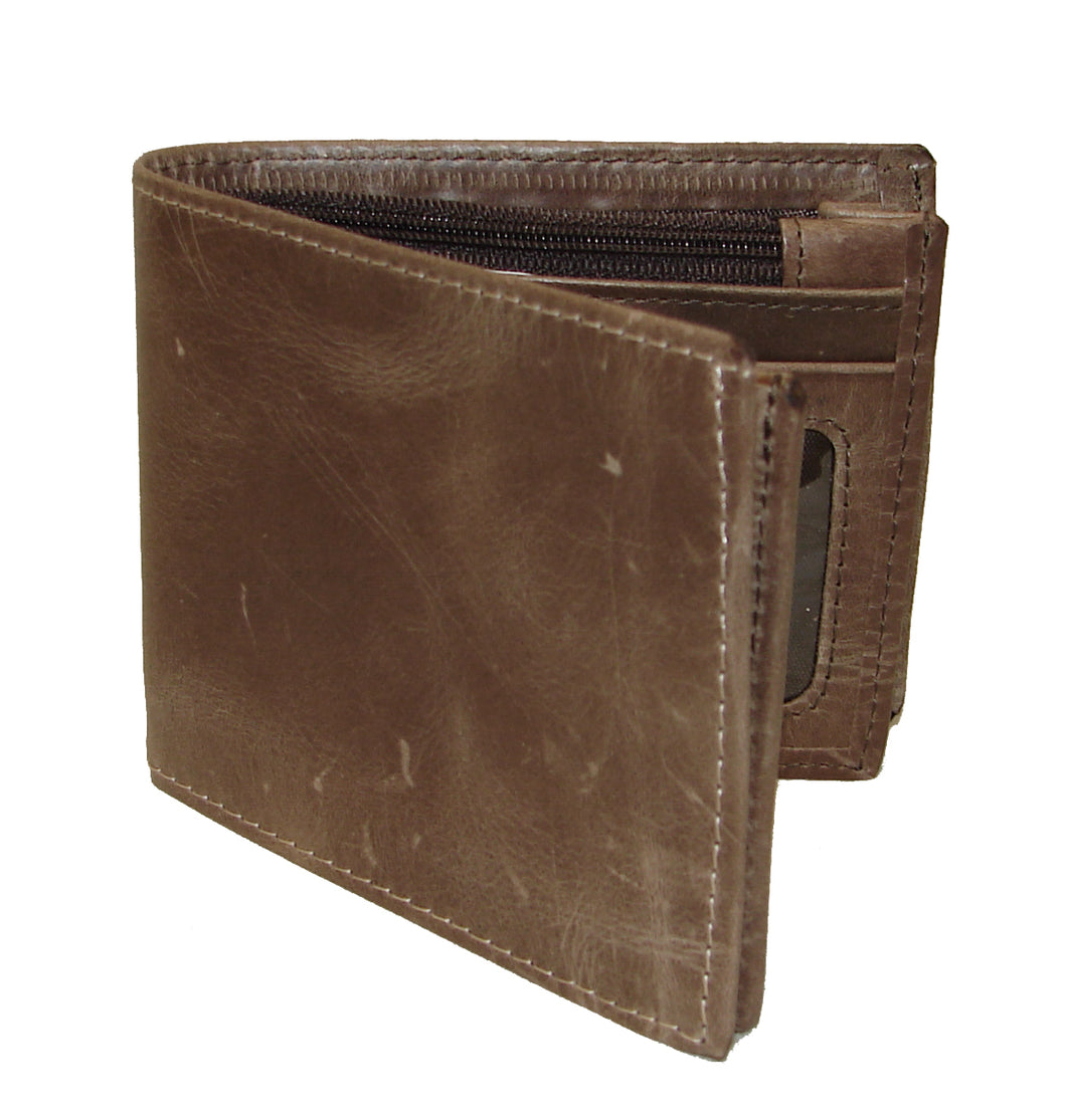 Pard's Western Shop 3-D Distressed Brown Bifold Wallet with Zippered Currency Pocket