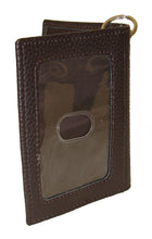 3-D Brown Leather Key Ring ID Holder