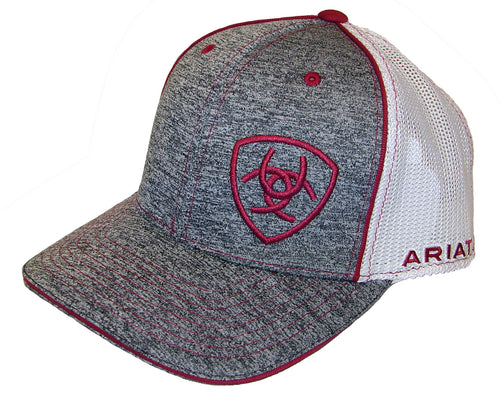 Ariat Heather Gray with Burgundy Sheild Ballcap
