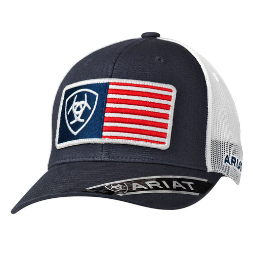 Men's Navy Ariat USA Flag Patch Mesh Back Ballcap