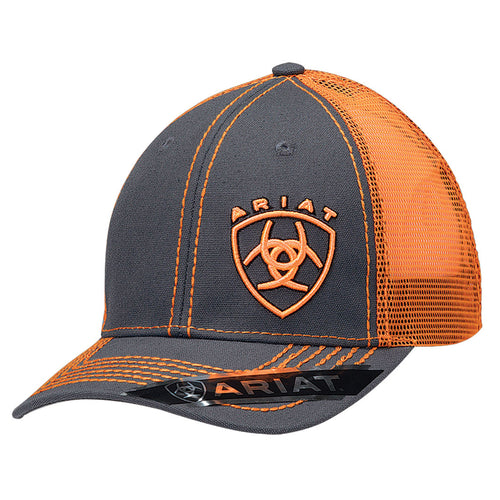 Ariat Men's Dark Grey/Orange Mesh Back Ballcap