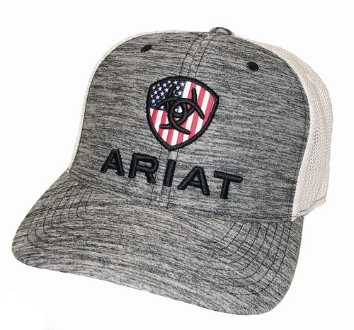 Pard's Western Shop Ariat Heather Gray USA Shield Ballcap