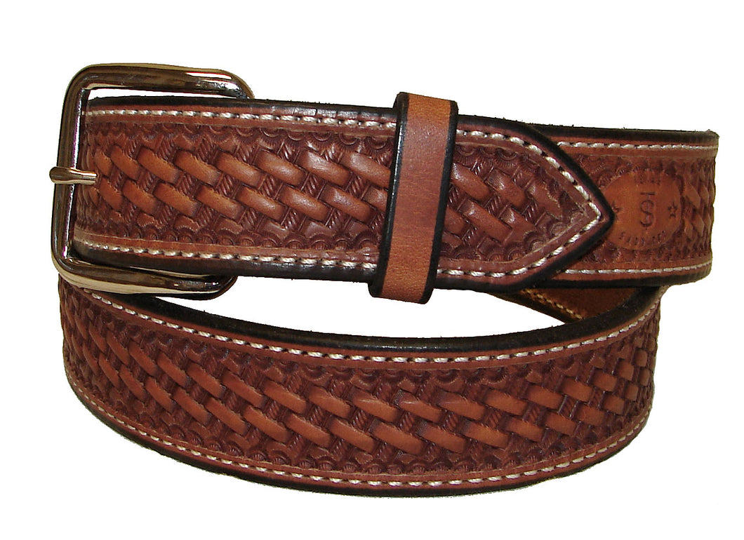 Texas Saddlery Natural Basket Stamped Belt