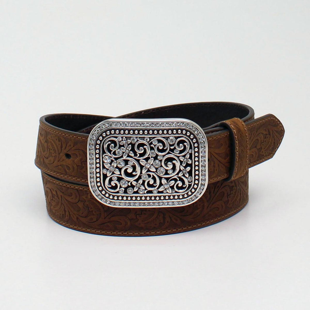 Ariat Brown Floral Belt with Rhinestone Filigree Buckle