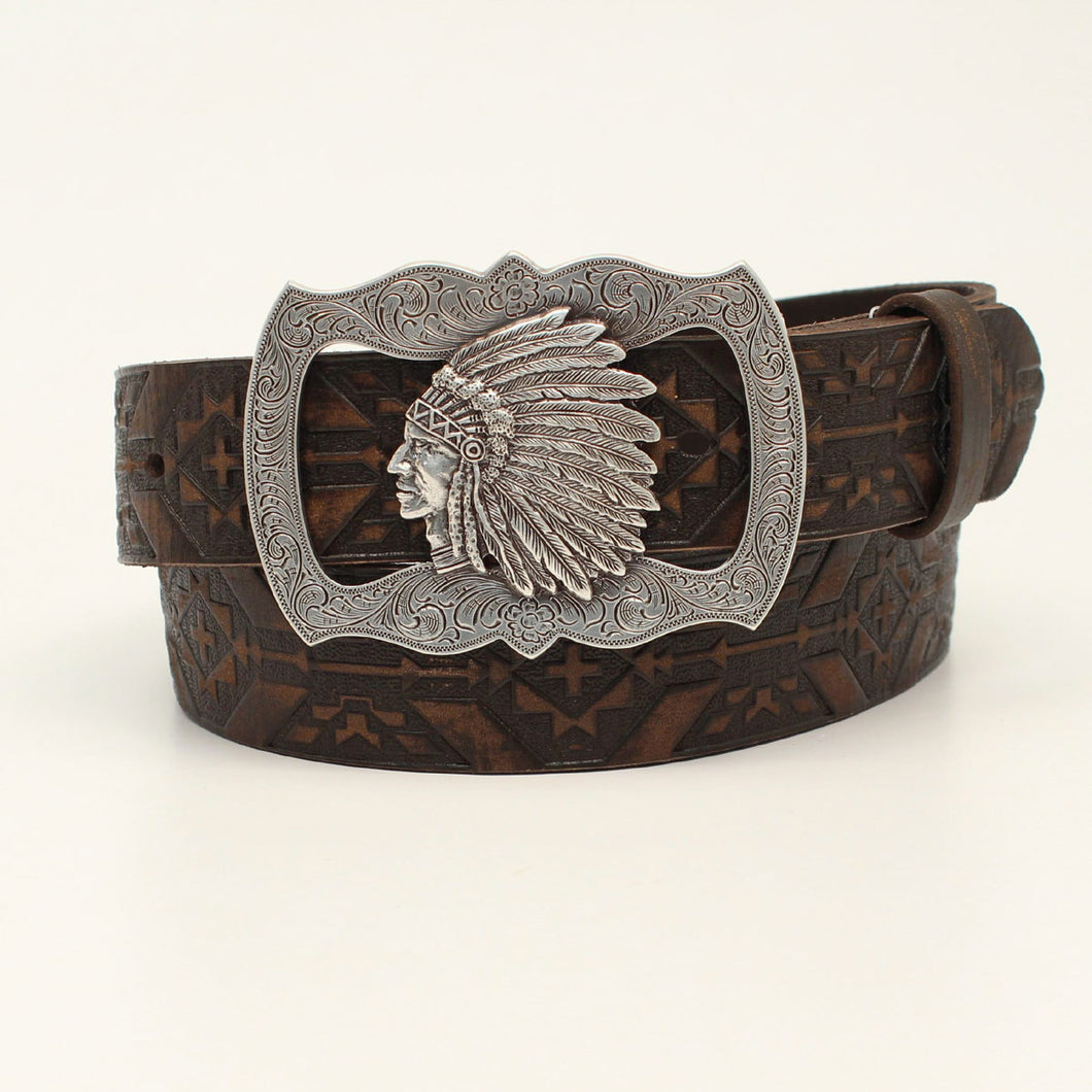 Angel Ranch Brown Aztec Belt with Chief Buckle