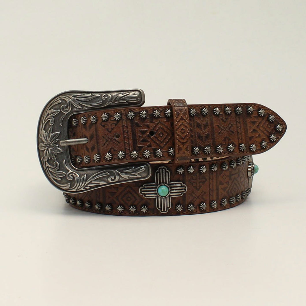 Angel Ranch Brown Aztec Design Belt with Turquoise Stone