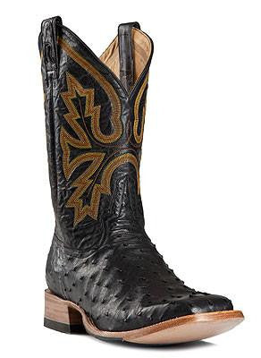 Rod Patrick Black Full Quill Ostrich Square Toe Boots