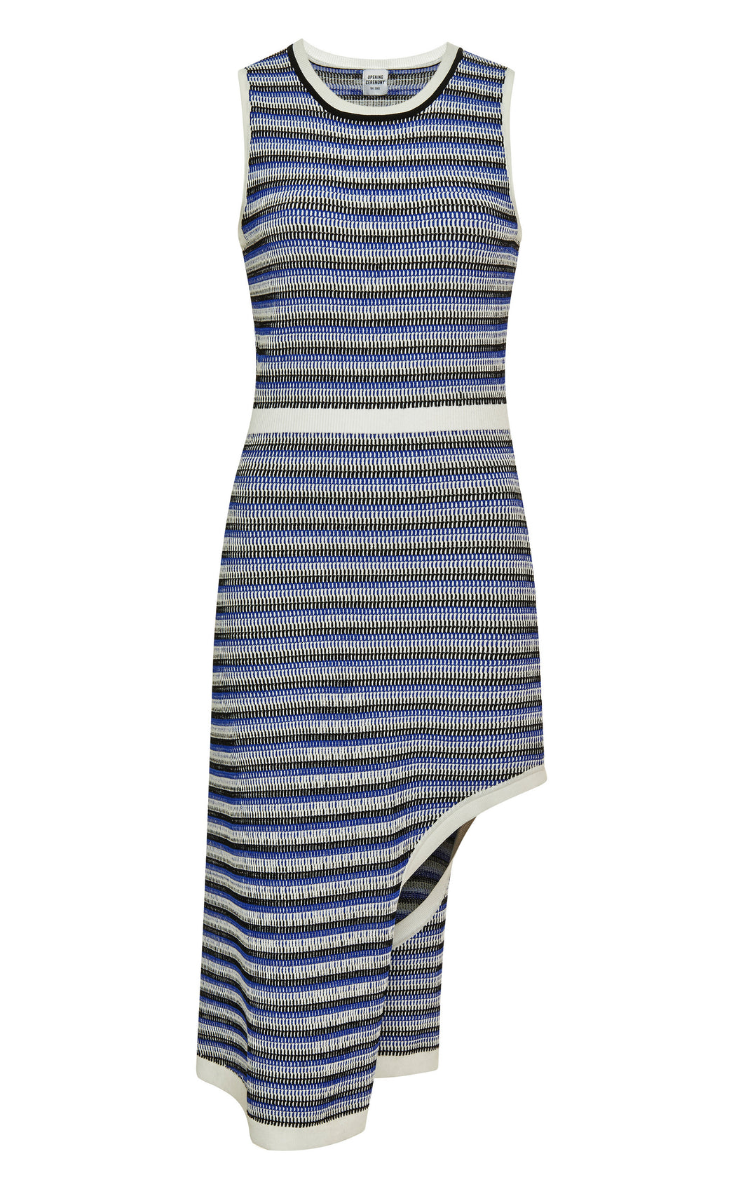 Vestido Microcable Stripe Side Drape