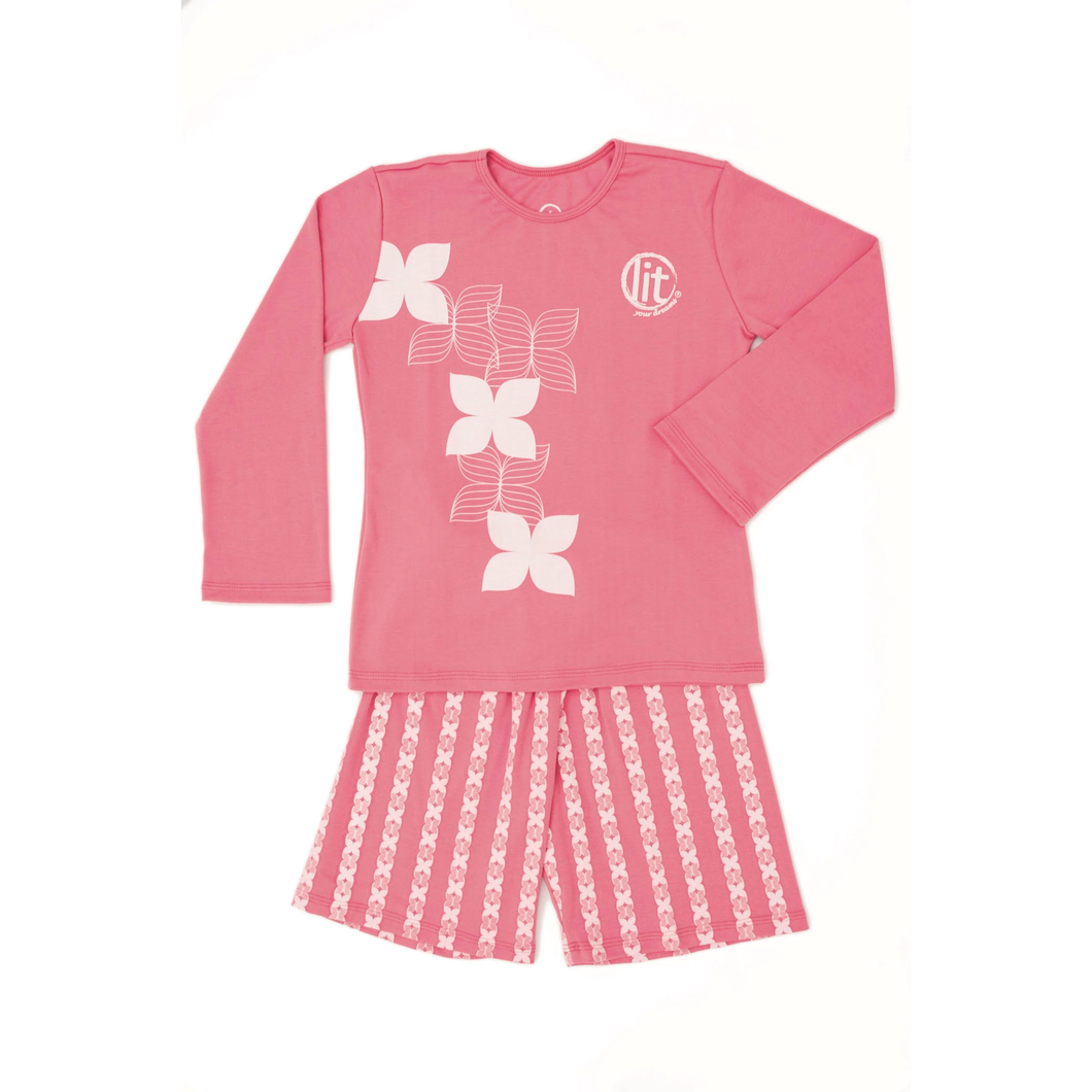 Pijama de niña Flores Geo Rosa 'Glow in the dark'