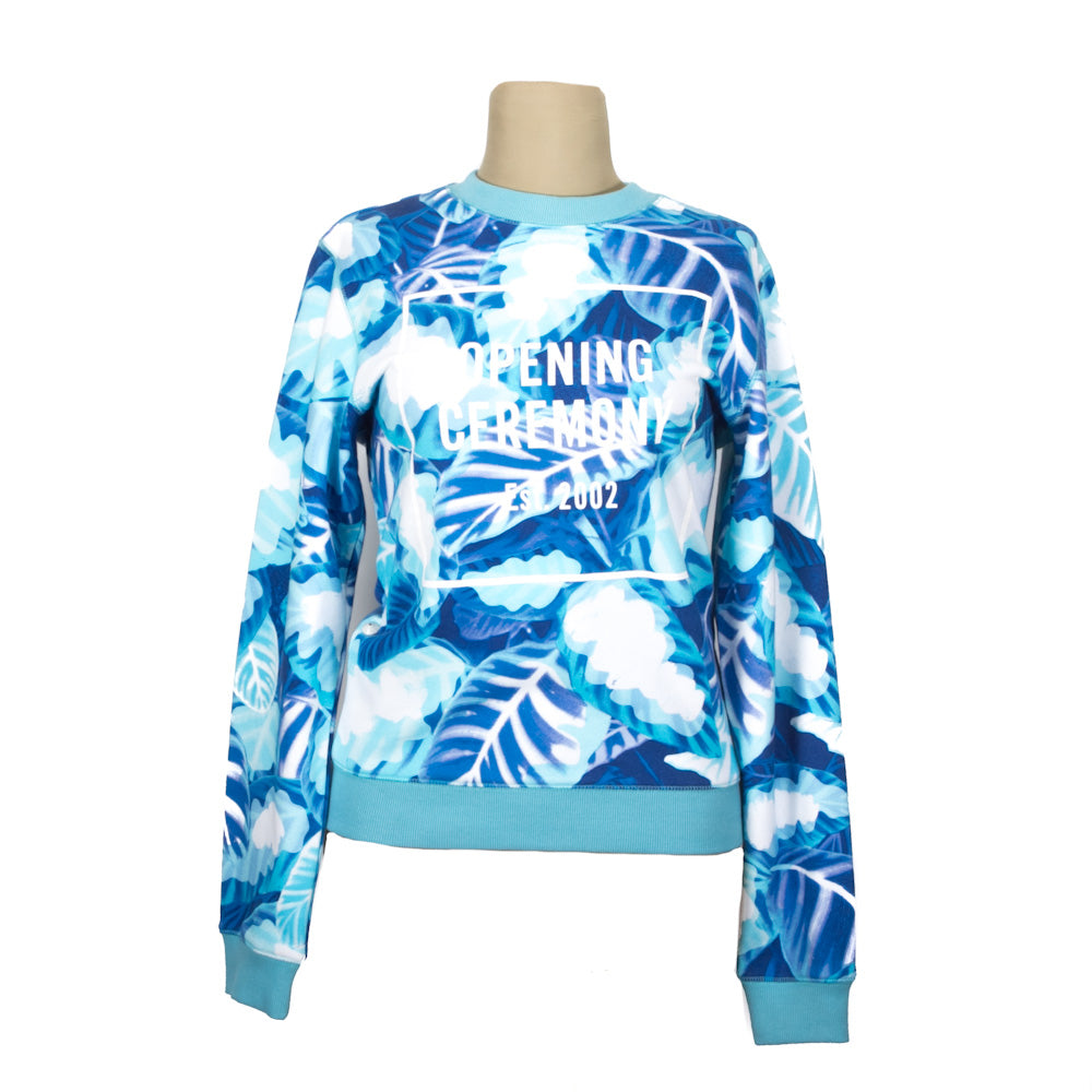 Sudadera Painted Leaves Crew Neck Pelagic Blue