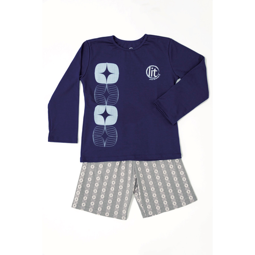Pijama de niño Estrella Geo Azul 'Glow in the dark'