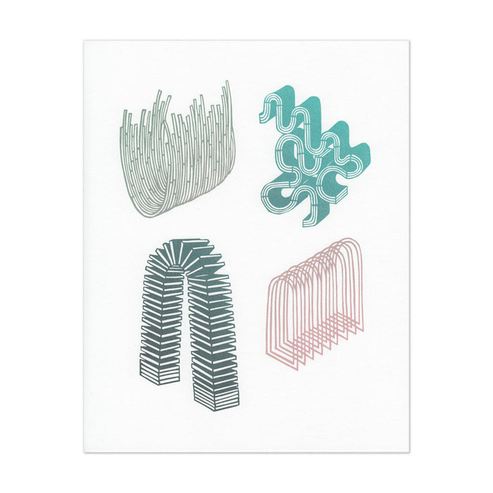 hand-printed screenprint, a collection of four abstract paper cut designs printed in many, gradated pastel colors, nest-like bowl, puzzle-shaped curling taffy, structure that looks like a square slinky, overlapping arches