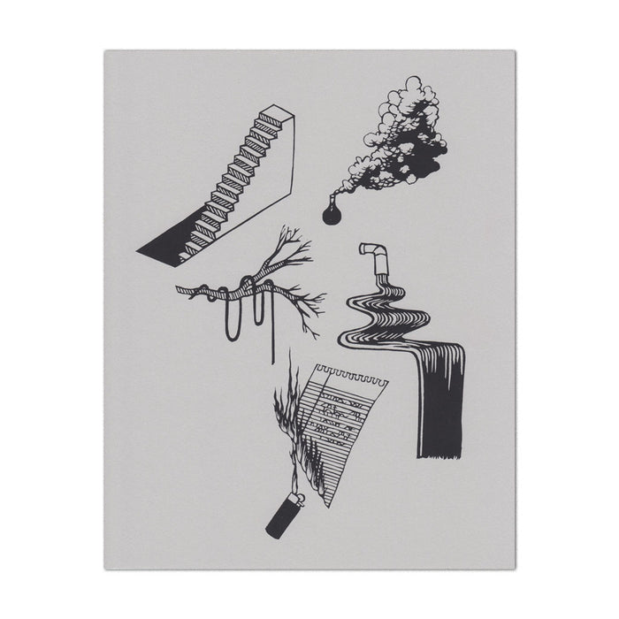 hand-printed screenprint, a collection of paper designs printed in black ink on grey paper, stairs descending into the floor, smoke from beaker, rope draped on a tree branch, faucet with ribbon-like water, lighter burning a handwritten note