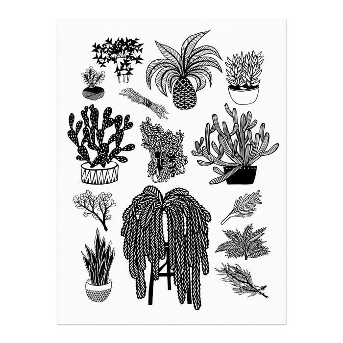 hand-printed screenprint, an arrangement of plant designs translated from paper cuts, black ink on white paper
