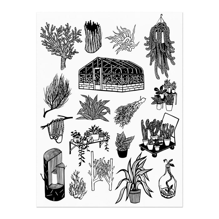 hand-printed screenprint, an arrangement of plant designs translated from paper cuts, the largest design is a greenhouse, black ink on white paper