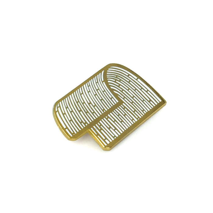hard enamel pin, tidal wave flop shape with intricate bamboo-like pattern, gold outlines on white background