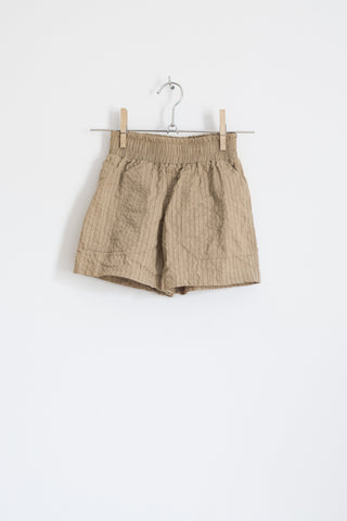 Camel Seersucker Stretch-cotton Shorts