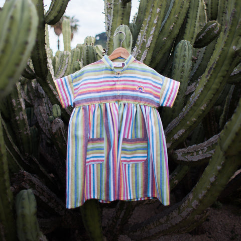 Multicolor Striped Cotton Kaftan Dress