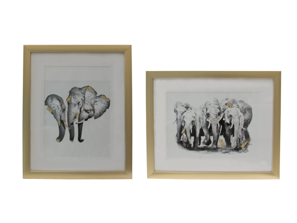 Giclee elephant family gold leaf set - Muebles Pergo