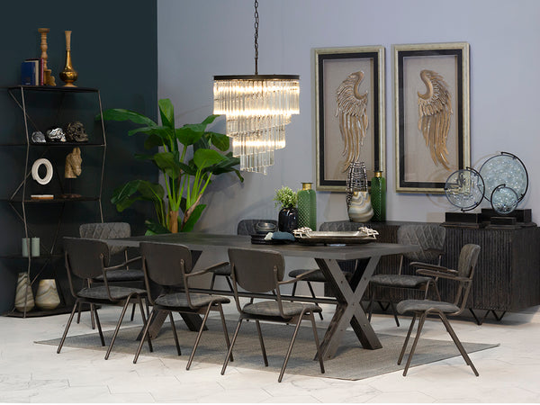 Set mesa de comedor Cambridge + 8 sillas Newry - Muebles Pergo