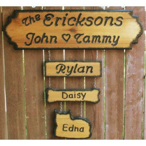 2 line engraved cedar wood sign E 7inx24in( Add On Names Sold Separately)