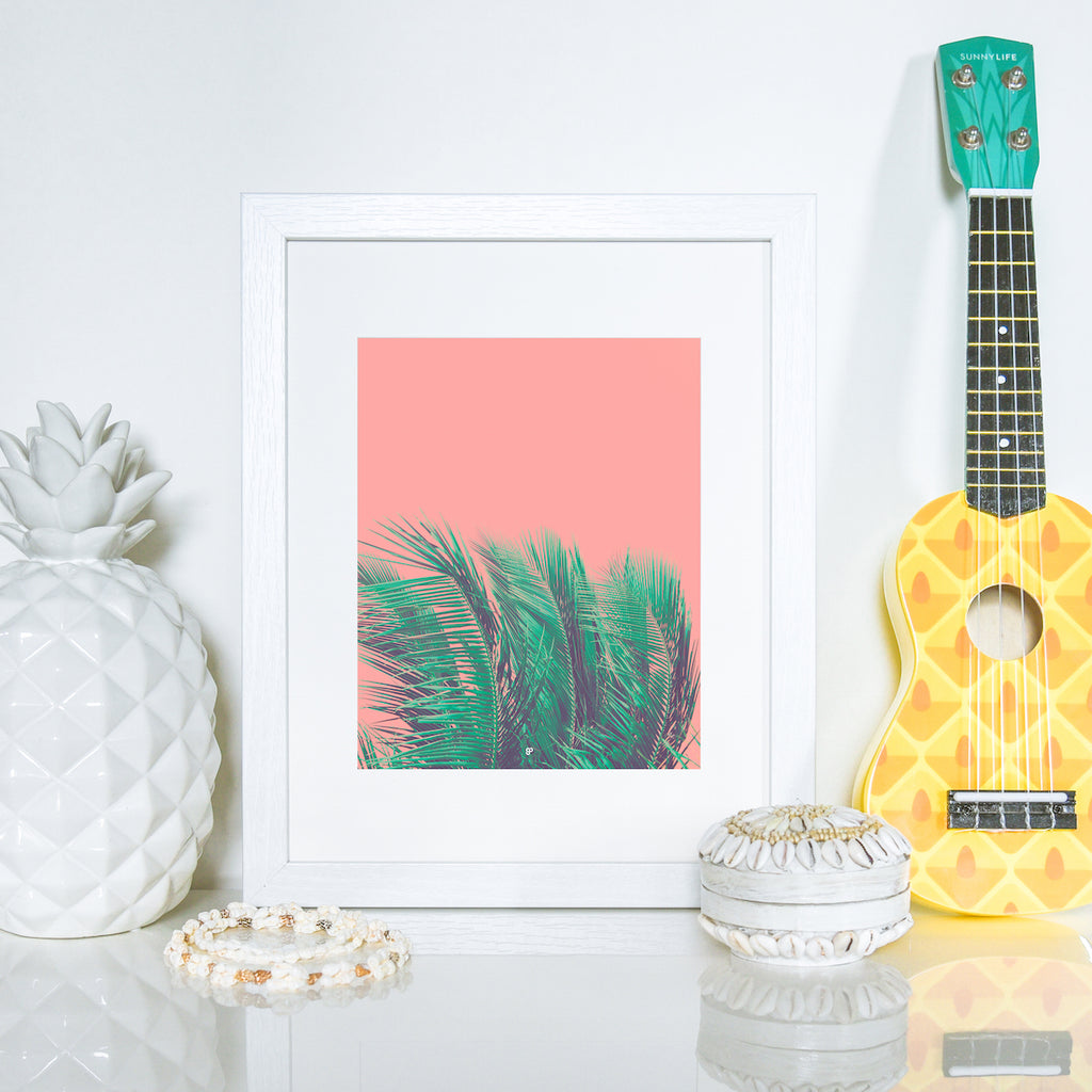 Coral Palms - Art Print - 8x10 11x14 16x20 24x36 - The Salty Pineapple Shop - Wall Art Home Decor Tropical Beach Colourful House Interior Photography Poster Modern Coastal Palm Tree Fronds Nature Bright Green Pink Gift Coral Teal Fun Happy Summer
