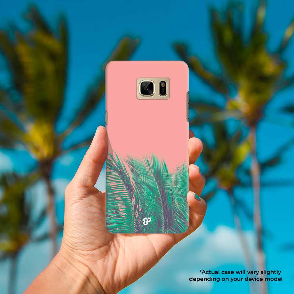 Coral Palms - The Salty Pineapple Shop - Samsung Galaxy Phone Case Samsung Galaxy S3 / S4 / S5 / Note 4 / S6 Edge / Note 3 Neo / Grand 2 / Grand Prime / E7 / Note 7 / S7 Edge / S7 / S8 / S8 Plus - Modern Coastal Palm Tree Fronds Nature Bright Green Pink Gift Coral Teal Fun Happy Summer Peach