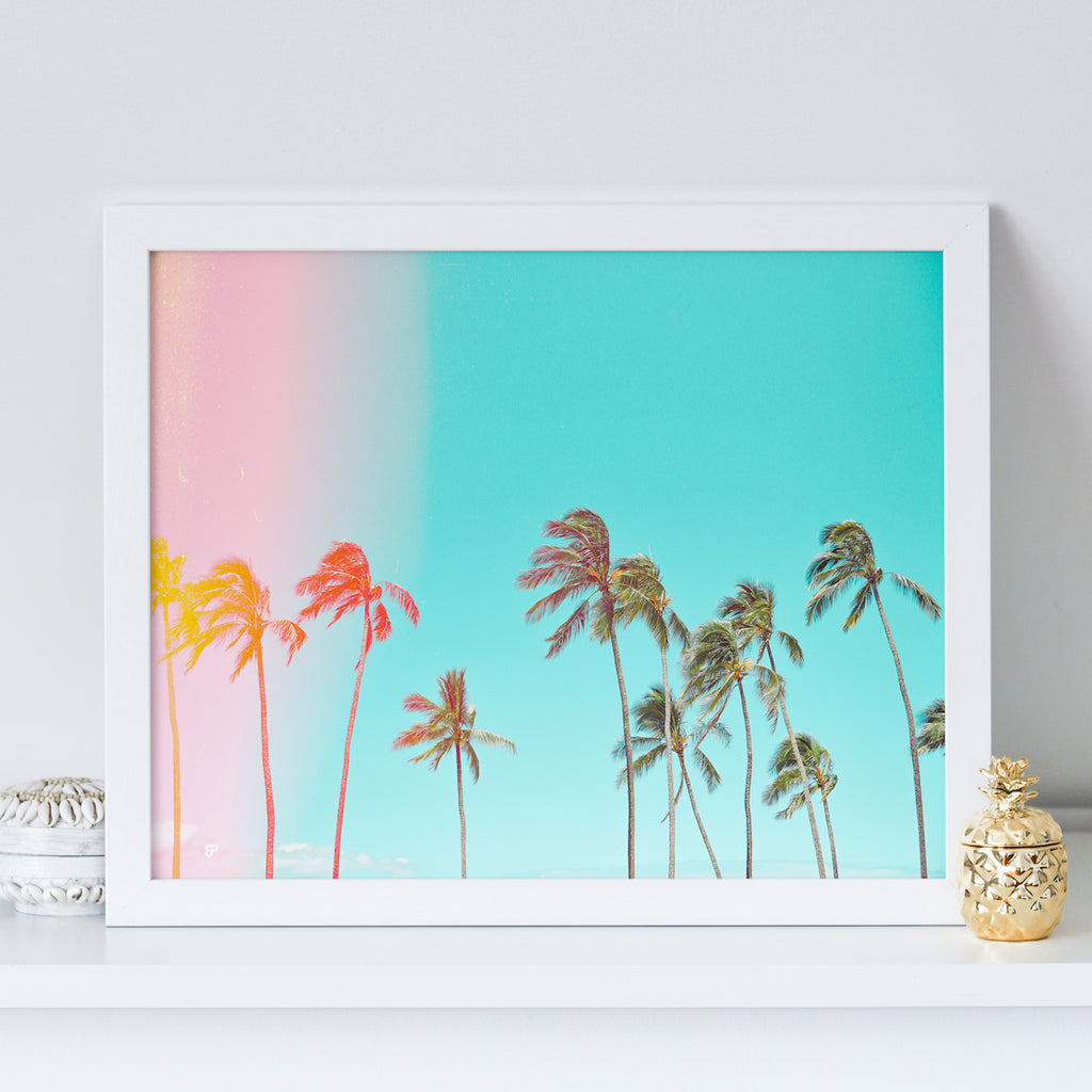 Endless Summer - Art Print - 8x10 11x14 16x20 24x36 - The Salty Pineapple Shop - Hawaii Wall Art Home Decor Tropical Beach Colourful House Interior Photography Poster Modern Coastal White Sand Ocean Gift Pink Light Leak Vintage Film Palm Trees Blue Yellow Bright