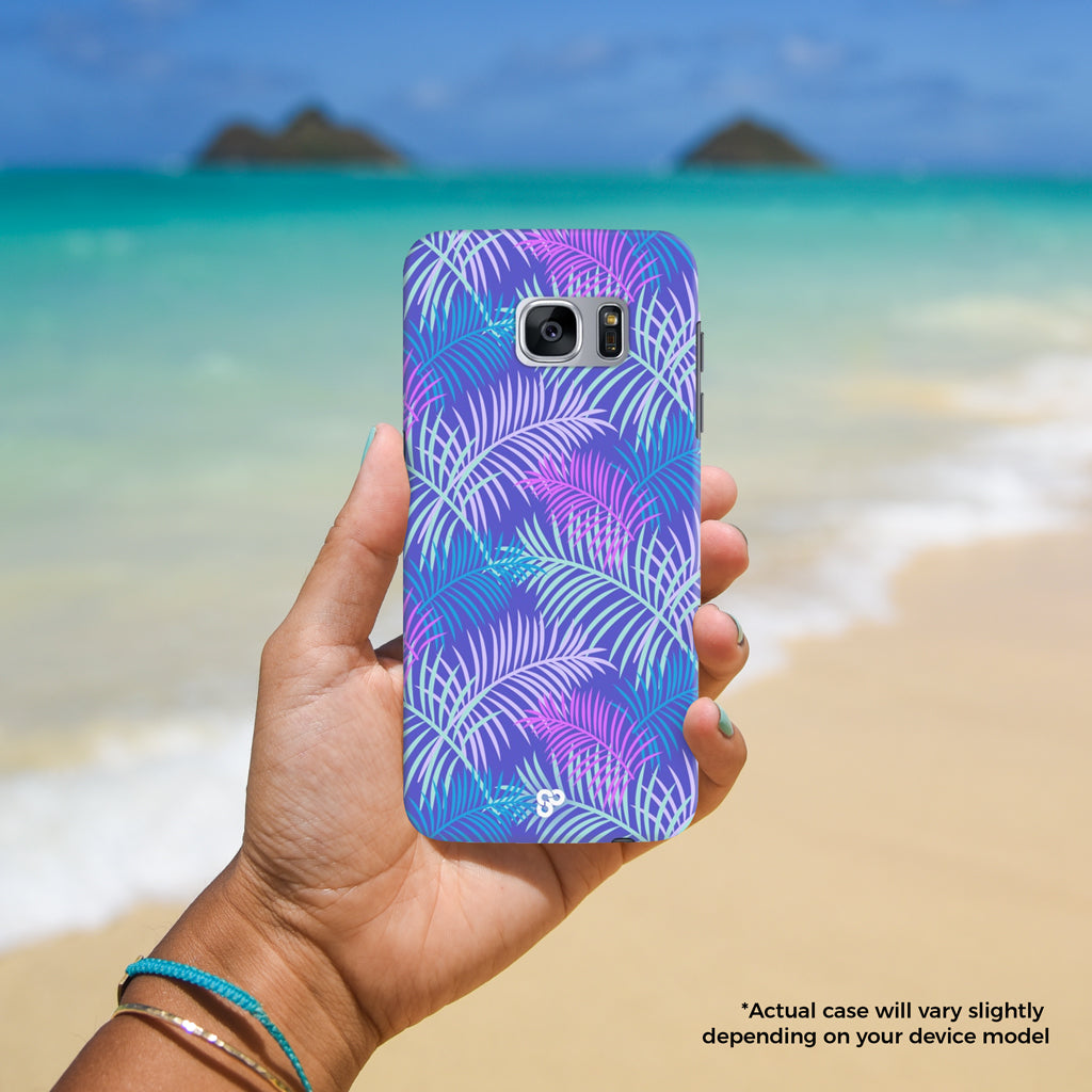 I'm Frond of You - The Salty Pineapple Shop - Samsung Galaxy Phone Case Samsung Galaxy S3 / S4 / S5 / Note 4 / S6 Edge / Note 3 Neo / Grand 2 / Grand Prime / E7 / Note 7 / S7 Edge / S7 / S8 / S8 Plus - Palm Trees Leaves Fronds Pattern Purple Pink Blue Design Cute Colourful Tropical Beach