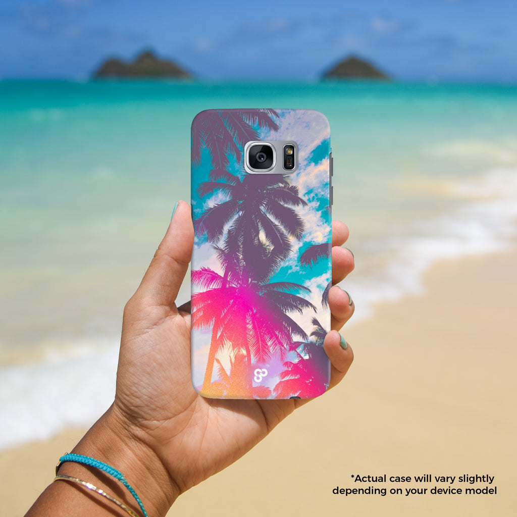 Palm Paradise - The Salty Pineapple Shop - Android Samsung Galaxy Phone Case Samsung Galaxy S3 / S4 / S5 / Note 4 / S6 Edge / Note 3 Neo / Grand 2 / Grand Prime / E7 / Note 7 / S7 Edge / S7 / S8 / S8 Plus - Tropical Beach Colourful Photography Modern Coastal Palm Tree Fronds Nature Bright Blue Silhouette Shadow Light Leak Vintage Film Effect Treatment Pink Orange Gift Teal Fun Happy Summer