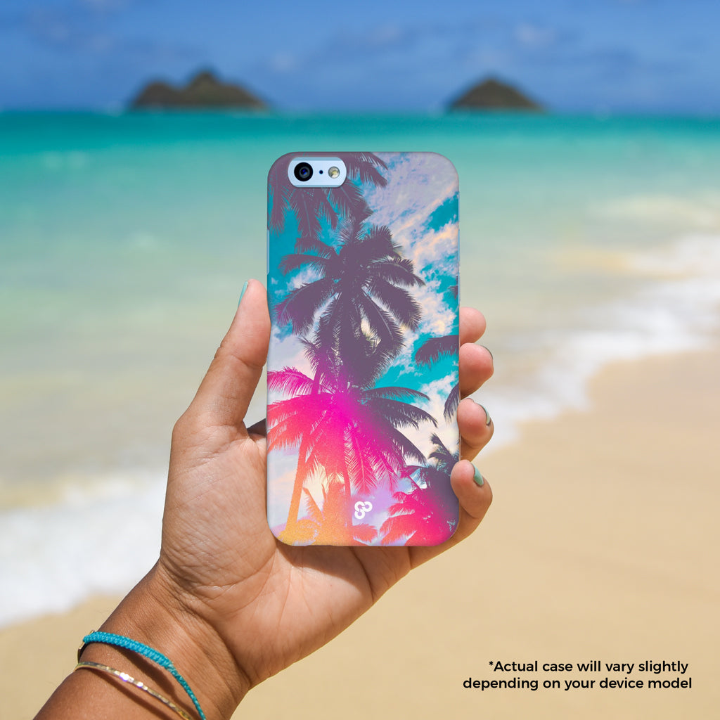Palm Paradise - The Salty Pineapple Shop - iPhone Case SE / 5 / 5S / 5C / 6 / 6 Plus / 6S / 6S Plus / 7 / 7 Plus - Tropical Beach Colourful Photography Modern Coastal Palm Tree Fronds Nature Bright Blue Silhouette Shadow Light Leak Vintage Film Effect Treatment Pink Orange Gift Teal Fun Happy Summer