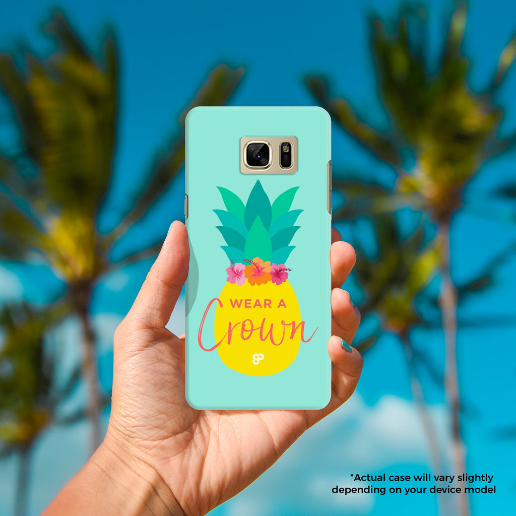 Pineapple Crown - The Salty Pineapple Shop - Android Samsung Galaxy Phone Case Samsung Galaxy S3 / S4 / S5 / Note 4 / S6 Edge / Note 3 Neo / Grand 2 / Grand Prime / E7 / Note 7 / S7 Edge / S7 / S8 / S8 Plus - Tropical Beach Colourful Pineapple Crown Flower Hibiscus Pink Design Cute Colourful Tropical Beach Quote Design Wear a Crown