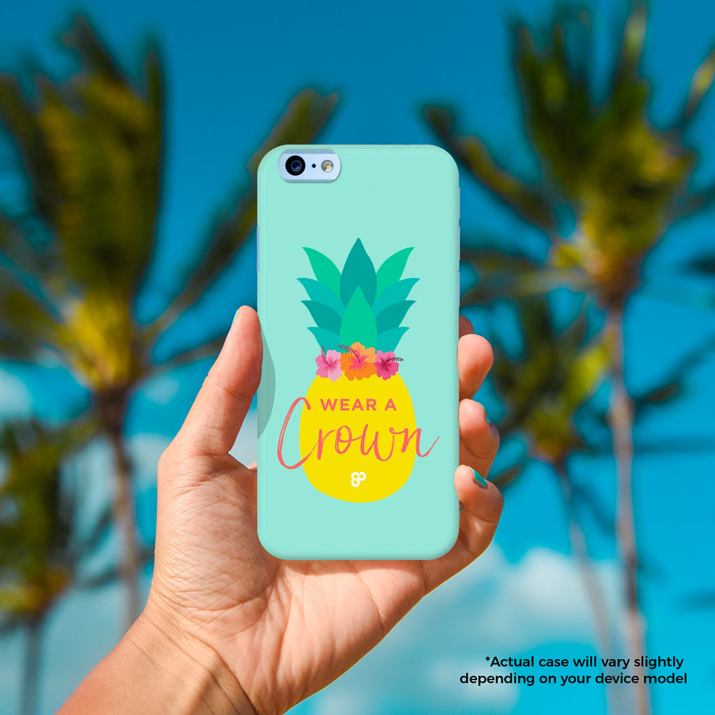 Pineapple Crown - The Salty Pineapple Shop - iPhone Case SE / 5 / 5S / 5C / 6 / 6 Plus / 6S / 6S Plus / 7 / 7 Plus - Tropical Beach Colourful Pineapple Crown Flower Hibiscus Pink Design Cute Colourful Tropical Beach Quote Design Wear a Crown