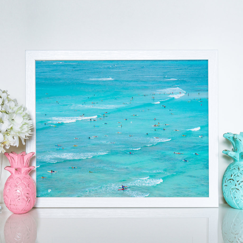 Surf & Sun - Art Print - 8x10 11x14 16x20 24x36 - The Salty Pineapple Shop - Hawaii Waikiki Surf Surfers Waves Lineup Wall Art Home Decor Tropical Beach Colourful House Interior Photography Poster Modern Coastal White Sand Ocean Gift Blue Sea Ocean Turquoise Fun Happy Summer