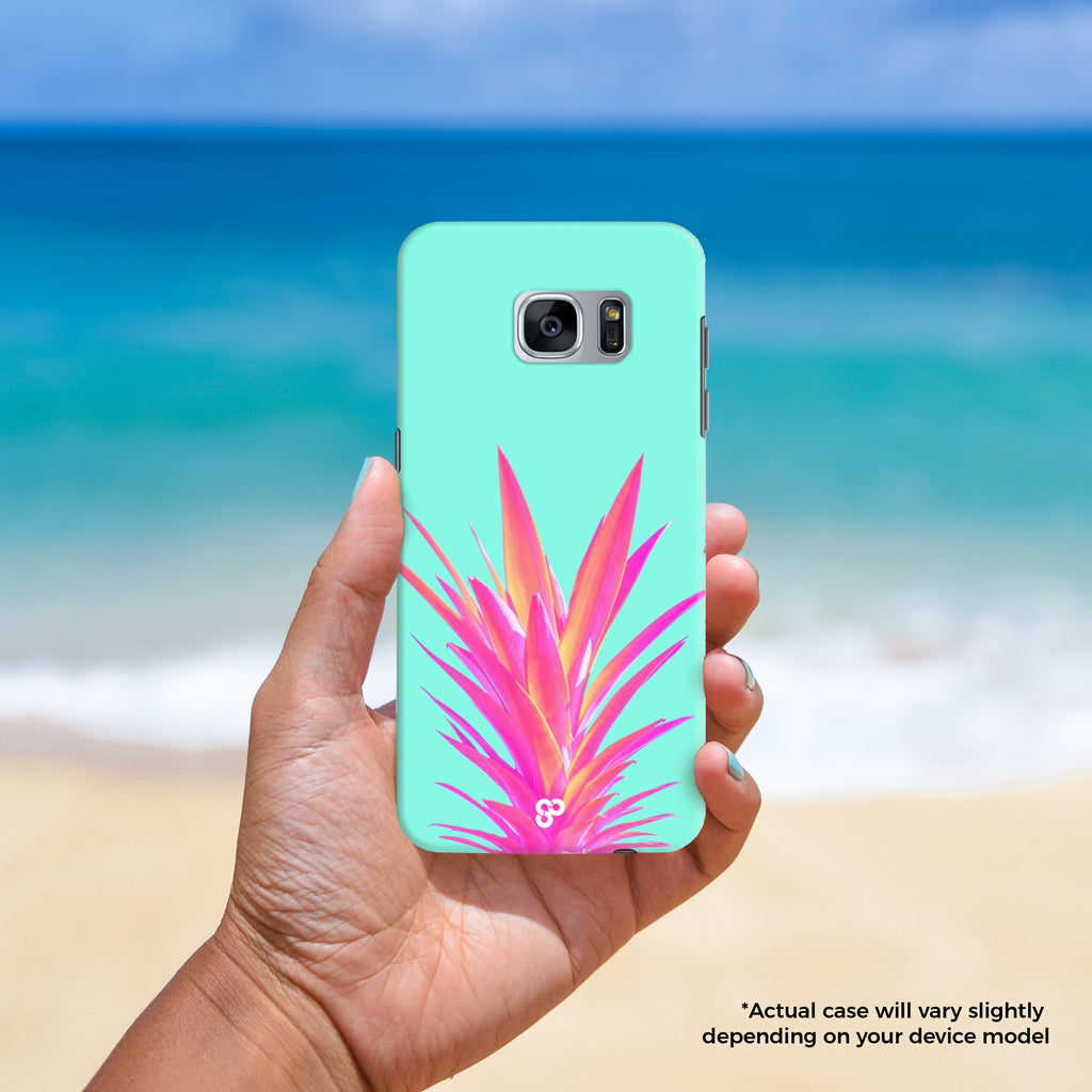 Wear a Crown - The Salty Pineapple Shop - Android Samsung Galaxy Phone Case Samsung Galaxy S3 / S4 / S5 / Note 4 / S6 Edge / Note 3 Neo / Grand 2 / Grand Prime / E7 / Note 7 / S7 Edge / S7 / S8 / S8 Plus - Tropical Beach Colourful Pink Mint Teal Bright Pineapple Crown Fruit Happy Fun