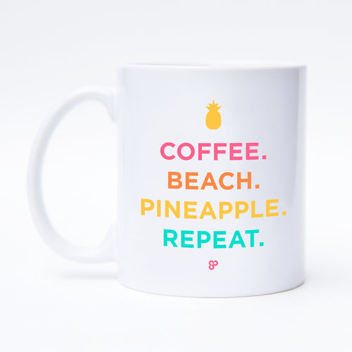 Coffee. Beach. Pineapple. Repeat. - Coffee Mug