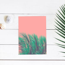 Coral Palms - Art Print - 8x10 11x14 16x20 24x36 - The Salty Pineapple Shop - Wall Art Home Decor Tropical Beach Colourful House Interior Photography Poster Modern Coastal Palm Tree Fronds Nature Bright Green Pink Gift Coral Teal Fun Happy Summer Peach