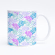 I'm Frond of You Mug - White 11 oz. Ceramic Coffee Mug - Printed in the USA - The Salty Pineapple Shop - Palm Trees Leaves Fronds Pattern Purple Pink Blue Quote Design Cute Colourful Tropical Beach