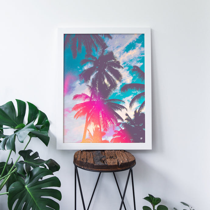 Palm Paradise - Art Print - 8x10 11x14 16x20 24x36 - The Salty Pineapple Shop - Wall Art Home Decor Tropical Beach Colourful House Interior Photography Poster Modern Coastal Palm Tree Fronds Nature Bright Blue Silhouette Shadow Light Leak Vintage Film Effect Treatment Pink Orange Gift Teal Fun Happy Summer