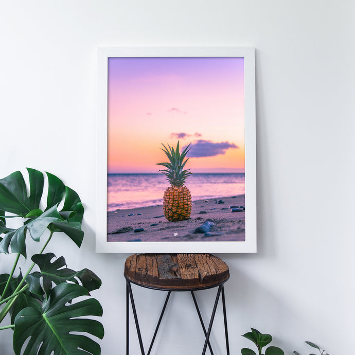 Sweet Sunset - Art Print - 8x10 11x14 16x20 24x36 - The Salty Pineapple Shop - Maui Pineapple Sunset Hawaii Wall Art Home Decor Tropical Beach Colourful House Interior Photography Poster Modern Coastal Purple Colorful Sand Ocean Gift Sea Turquoise Fun Happy Summer Pink Bright Coral Orange