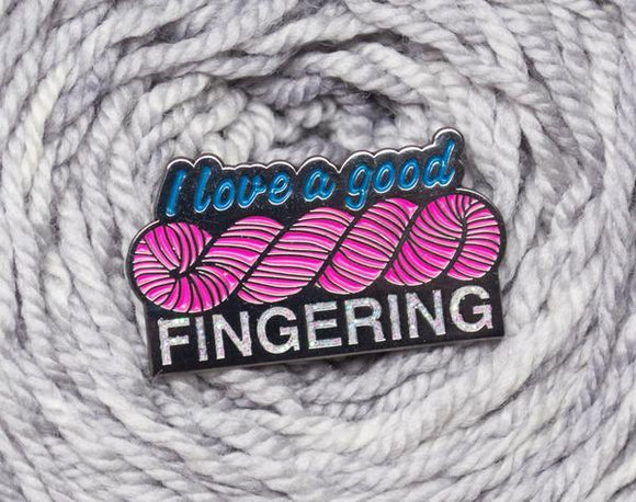 I Love A Good Fingering - Enamel Pin - Black