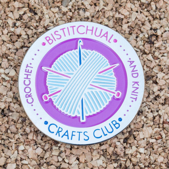 Bistitchual Crafts Club Enamel Pin - Silver