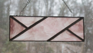Stained Glass Suncatcher - Knit Cable Symbol - Marbled Pink