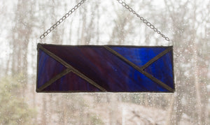Stained Glass Suncatcher - Knit Cable Symbol - Dark Purples