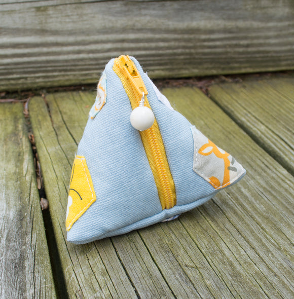 Petite Pyramid Bag - Handsewn Hexies - Blue & Gold