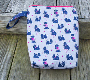 Proper Project Bag - Scottie Dogs - Pink Zipper