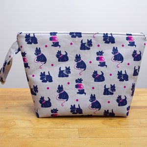 Proper Project Bag - Scotties - Horizontal, White Zipper